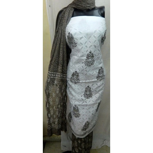 White and Grey Applique Work Patiala Salwar Suit
