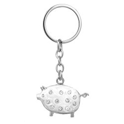 Pig Silver-Plated Keychain