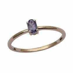 Stackable Pure Fine Gold 9k Tanzanite Gemstone Women Engagement Ring