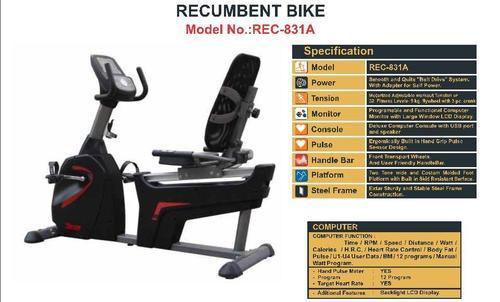 Avon Fitness Machines Semi Commercial Recumbent Bike With Adopter  Rec 831 A, for Office, Model Number: Rec-831a