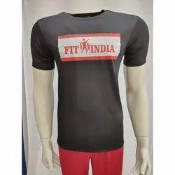 4 Way Lycra Printed Mens Half Sleeve T Shirt