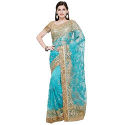 Ladies Georgette Blue and Golden Border Saree, Length: 6 m