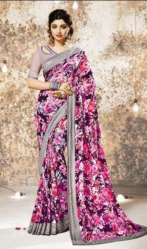 df2788e4f5 Casual Wear Multicolor Auspicious Multi Color Georgette Printed Casual Saree