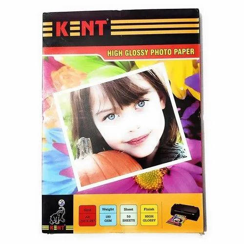 A4 Kent High Glossy Photo Paper, GSM: 180 GSM, 50 Sheets