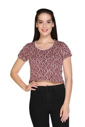women's knitted  print crop  top