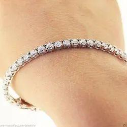 99% Party Wear Modern Diamond Silver Bracelet