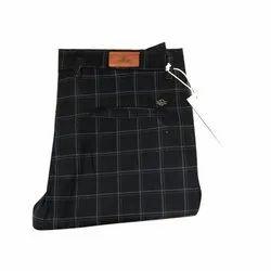 Check Cotton Mens Fancy Black Trouser