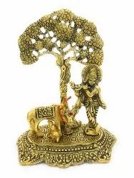 Gold Plated Krishna With Cow and Tree