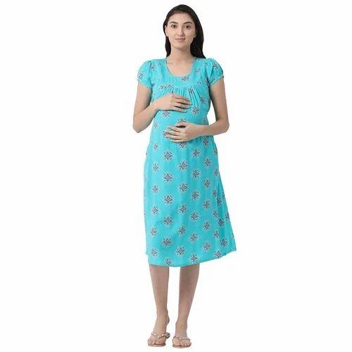 64d9575b8de Rayon Plain Blue Feeding Kurti