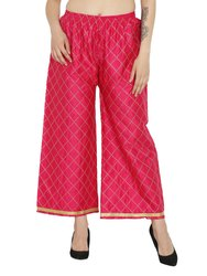 Red Ladies Chikan Strip Embroidery Palazzo