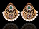 Traditional Red and Green Stone CZ Earring In Gold Plated Over Sterling Silver