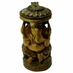 Wooden Ganesha Chatari With Black Finishing Work Statues
