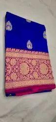Blue Color Pure Katan Banarasi Saree