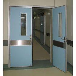 Gray Hinged Hospital Door