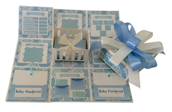 Crack Of Dawn Crafts Crafts-Baby Record Handmade Explosion Gift Box - Blue