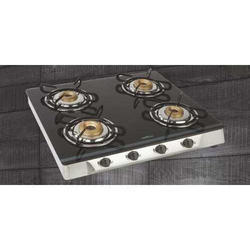 Stainless Steel And Glass 4 Burner Square Gas Stove, Packaging Type: Box
