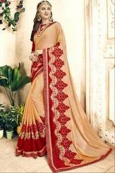 Beige and Red Embroidered Partywear Saree