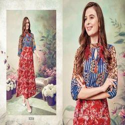 Designer Rayon Printed Anarkali Kurti