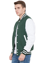 Green Wool Body White Leather Sleeves Varsity Jacket - Men