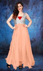 PR Fashion New Peach Color Semi-Stitched Gown