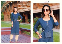Rachna Cotton Satin Pattern Cut Catalog Kurti With Palazzo For Women