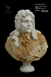 Louis XIV White and Pink Marble Bust