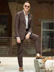 Brown Cotton Self 3-Piece Suit