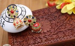 Color Stone Meena Jhumka