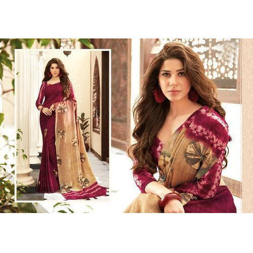 c2db0e9578f3e Ladies Fancy Printed Saree With Blouse Piece
