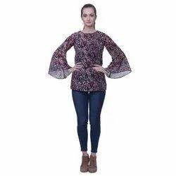 Round Neck Casual Wear Ladies Crepe Printed Top