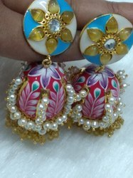 Hand Painted  Jhumka Earrings.