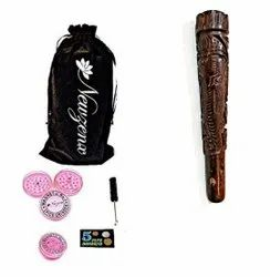 Rosewood Carved Crafted Chillum 6 Inch Included 1 Herb Crusher, Fancy Velvet Pouch & Accessories