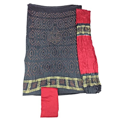 Black And Maroon Color Fancy Design Gaji Silk Dress Material