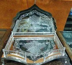 Engraving Rectangular Silver Sinhasan