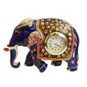 Metal Meenakari Elephant With Clock, Usage: Interior Decor