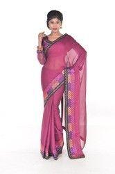 Magenta Chiffon Embroidered Saree