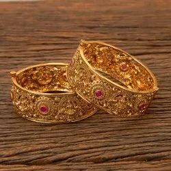 Antique Gold Plated Temple Bangles 202553