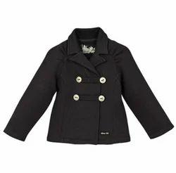Casual Wear Plain Girls Black Jacket