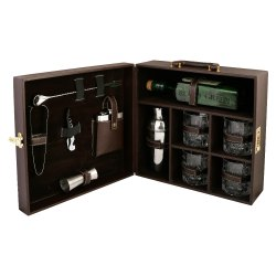 Portable Bar Set (Holds 01 Bottle & 04 Glasses)