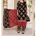 Semi-Stitched Red and Black Cotton Printed Salwar Suit, Machine Wash,Hand Wash