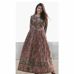 Bagru Print Long Anarkali Dress
