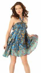 Printed Silk Recycle Sari Magic Wrap Mini Skirt
