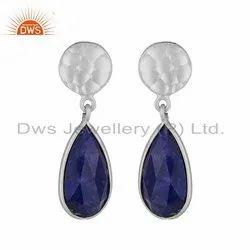 925 Sterling Fine Silver Lapis Lazuli Gemstone Earrings