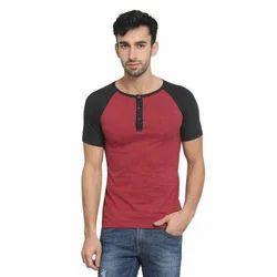 9b18fecd2c1 Casual Wear Red And White Mens Raglan Half Sleeves Henley Neck T-Shirt