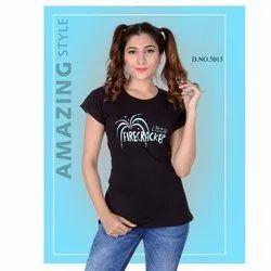 Ladies Black Printed T Shirt