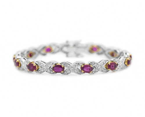 Mozambique Ruby And Diamond Hugs Kisses Bracelet Xoxo 7 44 Cts By Chris