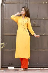 Rayon Hand Embroidered Yellow Kurti With Red Palazzo