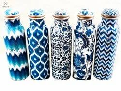 Standard Polished Copper Meena Print bottle, For Home, Capacity: 600-1000ml