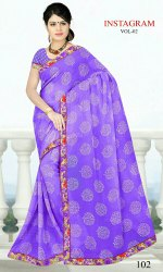 Printed synthetics saree