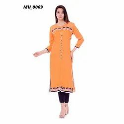 Orange A-Line Ladies Kurti